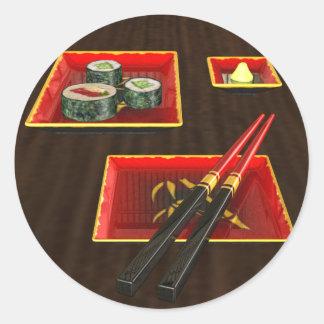 Sushi in Red Classic Round Sticker