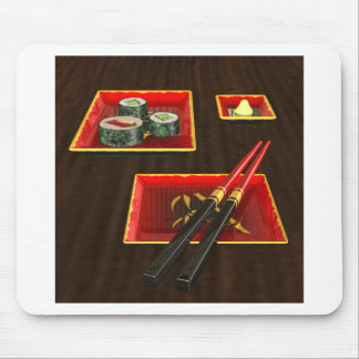 Sushi in Red Mouse Pad