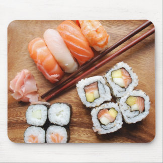 Sushi - Japonese food (on a wooden plate) Mouse Pad
