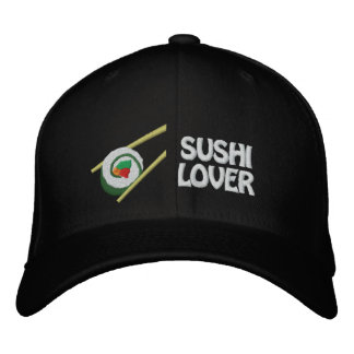 Sushi Lover Embroidered Cap- Can Edit Text Embroidered Baseball Hat