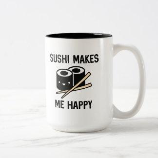 Sushi Makes Me Happy Two-Tone Coffee Mug