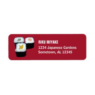 Sushi | Maki Rolls on Red Return Address Labels