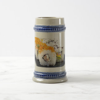 Sushi on a plate beer stein