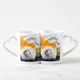 Sushi on a plate coffee mug set