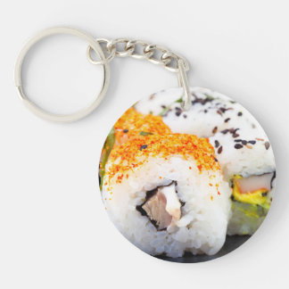 Sushi on a plate Double-Sided round acrylic keychain