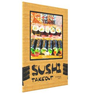 Sushi para llevar usted sabe que usted lo quiere impresión en lona estirada