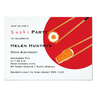 Sushi Party Custom Invitation
