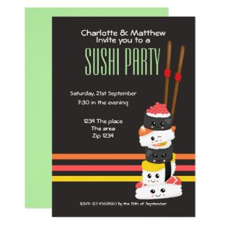 Sushi Party Cute Kawaii Personalize Japanese Card