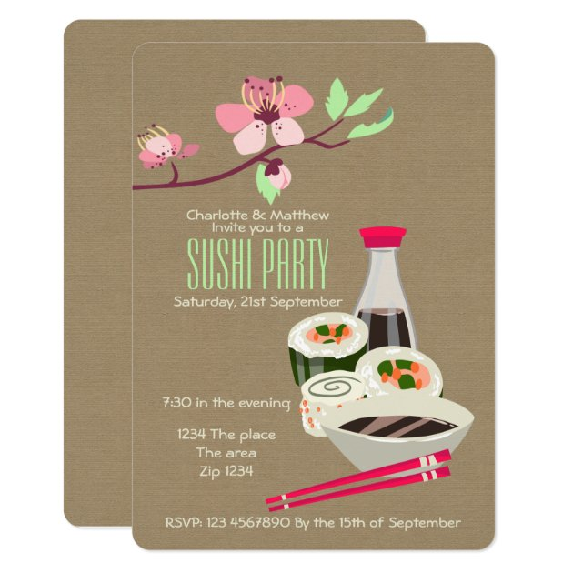 Sushi Party Easy To Personalize Japanese Themed Card
