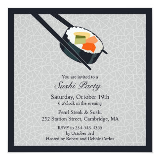 Sushi Party Flat Invitation