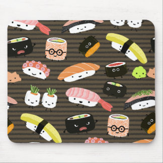 Sushi Party - Fun Sushi Characters Pattern Mouse Pad