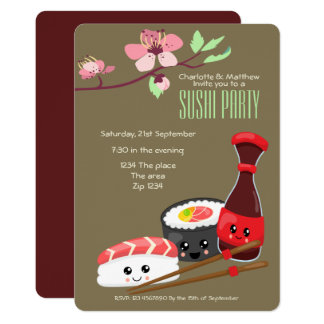 Sushi Party Kawaii Personalize Japanese Themed Card
