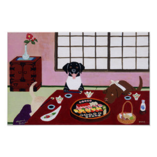 Sushi Party Labradors Artwork Poster