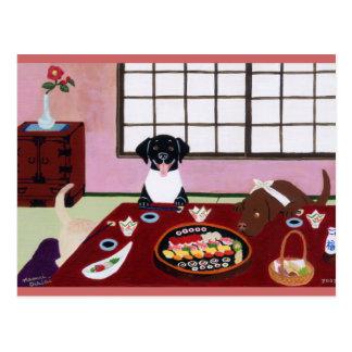 Sushi Party Labradors Postcard