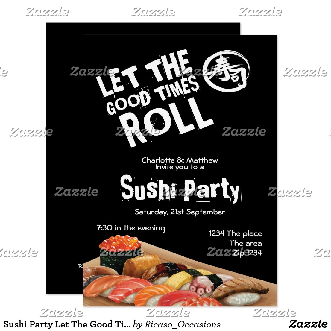 Sushi Party Let The Good Times Roll Japanese Invitation