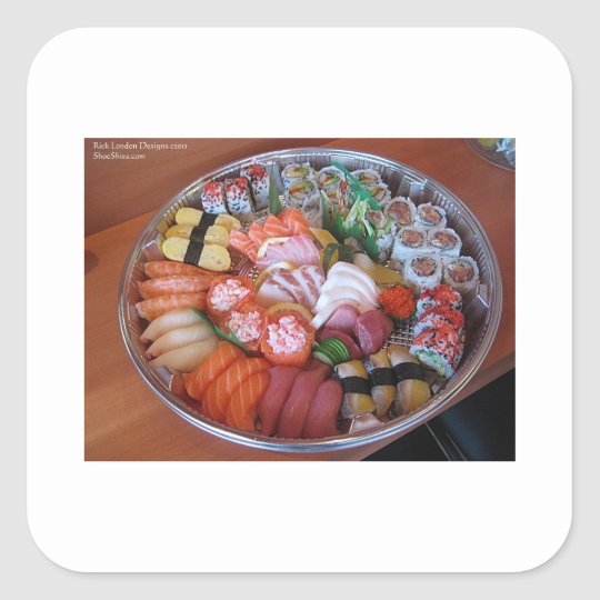 Sushi Party Plate Print Gifts Tees & Cards Square Sticker