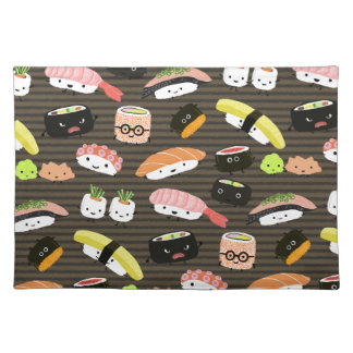 Sushi Party - Sushi Rolls, Sashimi, Wasabi, Ginger Cloth Placemat