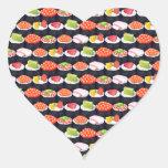 Sushi pattern heart stickers