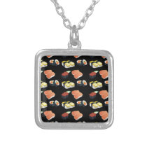 Sushi pattern silver plated necklace