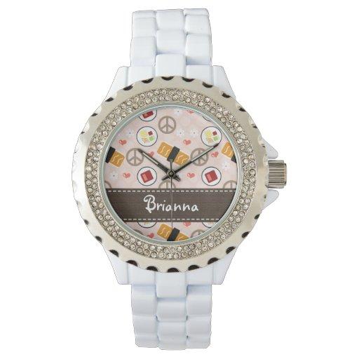 Sushi personalizado del amor de la paz reloj de mano