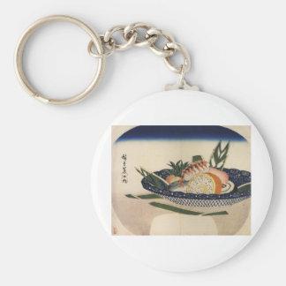sushi plate art keychain