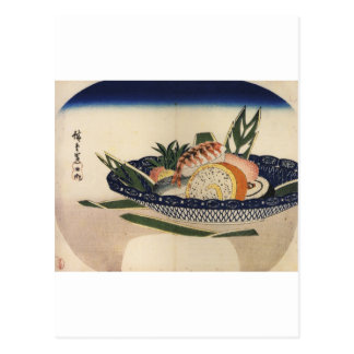 sushi plate art postcard