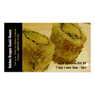 Sushi Restaurant California Rolls Business Card Templates