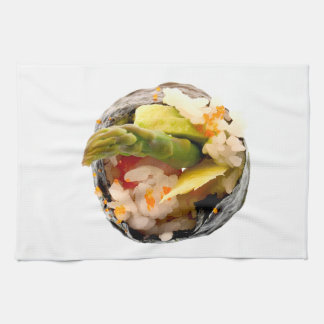 Sushi Roll Asparagus Rice Japanese Food Template Kitchen Towels