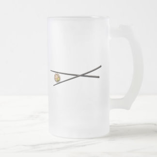 Sushi Roll & Chopsticks - Customized Template 16 Oz Frosted Glass Beer Mug