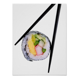 Sushi Roll & Chopsticks - Customized Template Poster