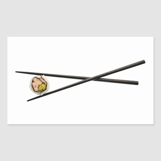 Sushi Roll & Chopsticks - Customized Template Rectangular Sticker