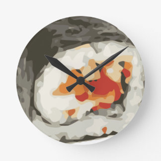Sushi Roll Japanese Food Lover Round Clock