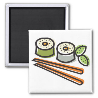 sushi rolls and chopsticks 2 inch square magnet
