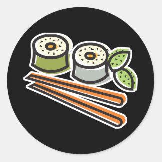 sushi rolls and chopsticks classic round sticker