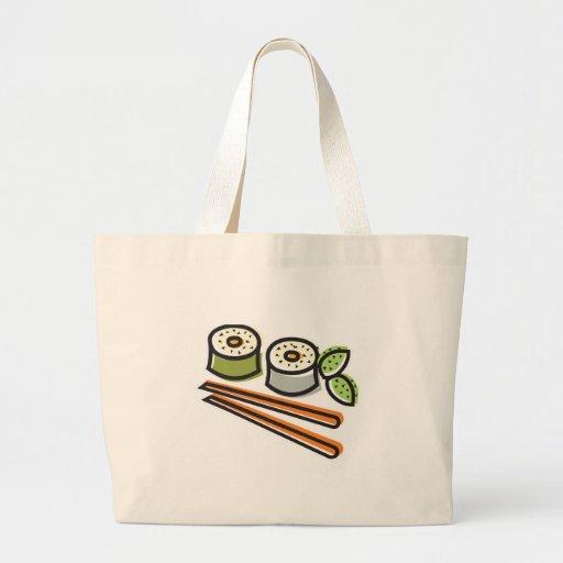 sushi rolls and chopsticks jumbo tote bag