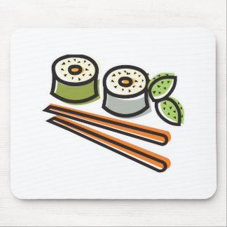 sushi rolls and chopsticks mouse pads