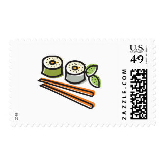 sushi rolls and chopsticks stamps