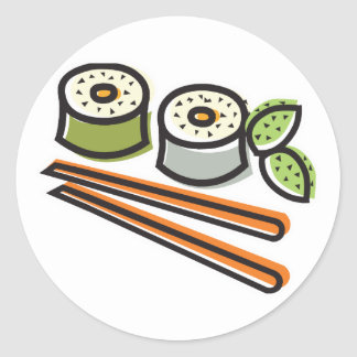 sushi rolls and chopsticks stickers