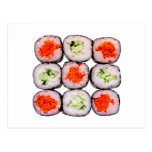 Sushi Rolls Japanese Food Template Post Card