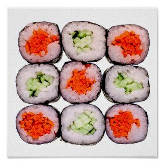 Sushi Rolls Japanese Food Template Poster