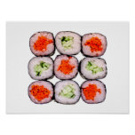 Sushi Rolls Japanese Food Template Print