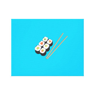 Sushi rolls with chopsticks canvas print