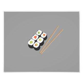 Sushi rolls with chopsticks photo print