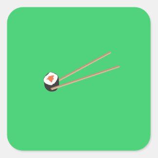 Sushi rolls with chopsticks square sticker