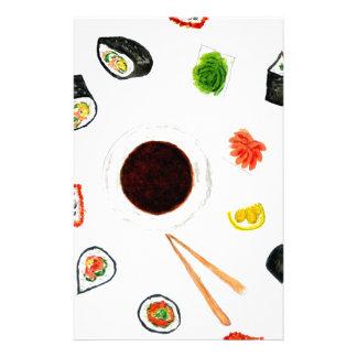 Sushi Set Watercolor Stationery