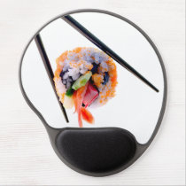 Sushi Shrimp Roll Black Chopsticks on White Japan Gel Mouse Pad