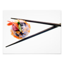 Sushi Shrimp Roll Black Chopsticks on White Japan Photo Print
