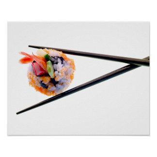 Sushi Shrimp Roll Black Chopsticks on White Japan Poster
