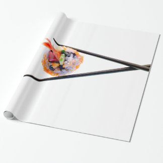 Sushi Shrimp Roll Black Chopsticks on White Japan Gift Wrapping Paper