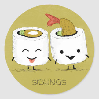 Sushi Siblings Classic Round Sticker